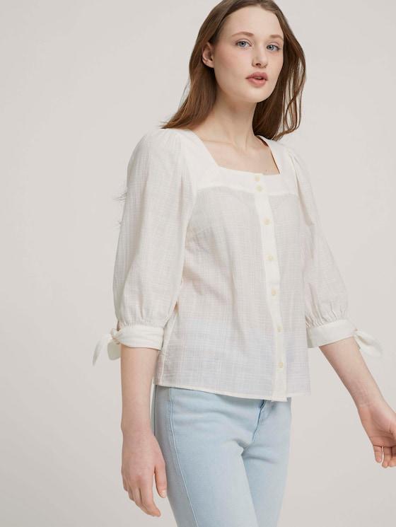Carree-Ausschnitt Bluse mit Bio-Baumwolle - Frauen - Gardenia White - 5 - TOM TAILOR Denim
