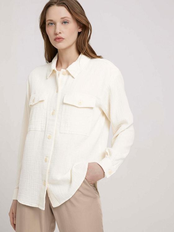 Strukturiertes Überhemd - Frauen - soft creme beige - 5 - TOM TAILOR Denim