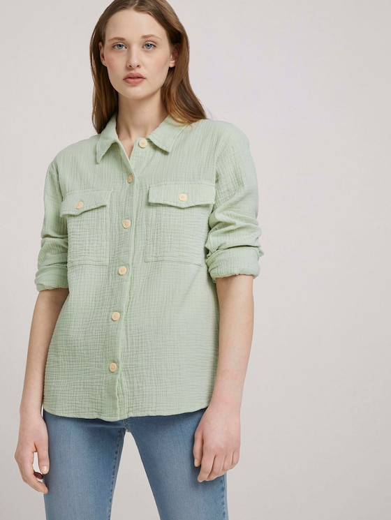 Strukturiertes Überhemd - Frauen - light dusty green - 5 - TOM TAILOR Denim