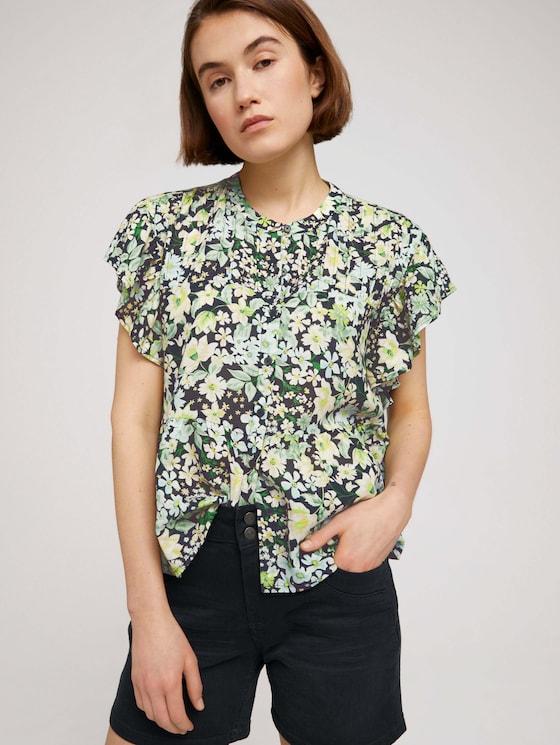 Bluse mit Volantärmeln - Frauen - flower print - 5 - TOM TAILOR Denim