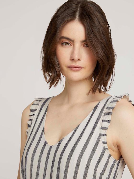 Striped linen jumpsuit with ruffles - Women - black beige stripe - 5 - TOM TAILOR Denim