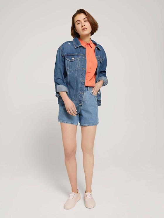 Mom Fit Shorts - Frauen - Clean Mid Stone Blue Denim - 3 - TOM TAILOR Denim