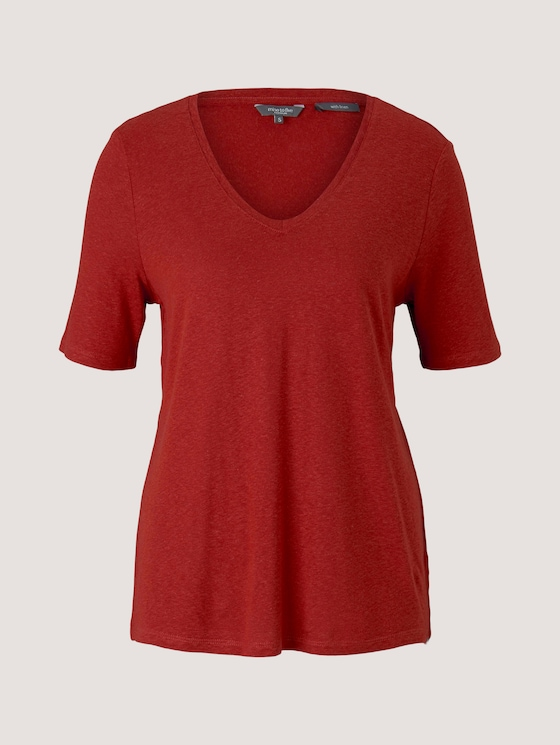 Leinen T-Shirt mit V-Ausschnitt - Frauen - Rooibos Orange - 7 - Mine to five