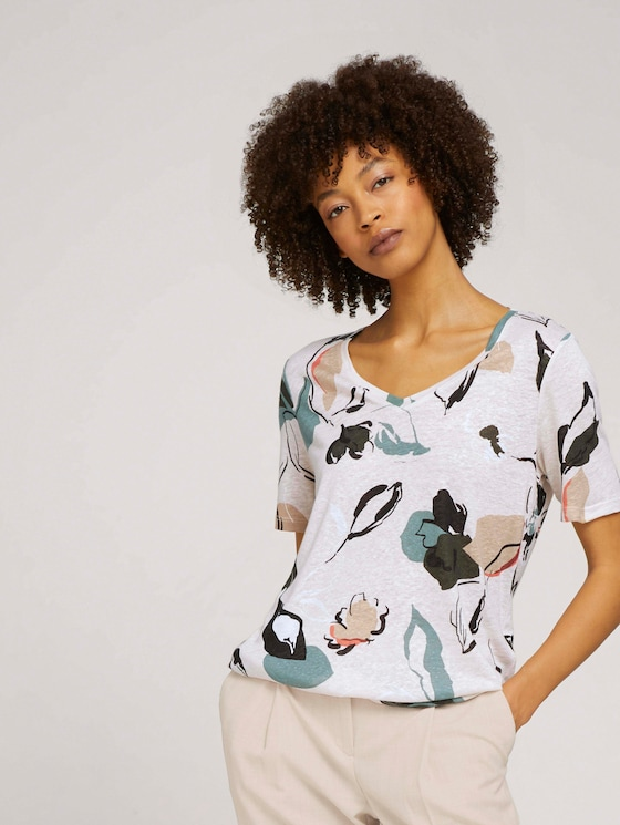 Leinen T-Shirt mit V-Ausschnitt - Frauen - floral design - 5 - Mine to five