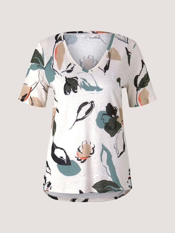 Leinen T-Shirt mit V-Ausschnitt - Frauen - floral design - 7 - Mine to five