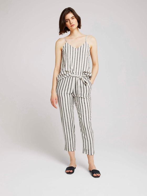 Tapered Leinen Stoffhose mit Gürtel - Frauen - black beige stripe - 3 - TOM TAILOR Denim