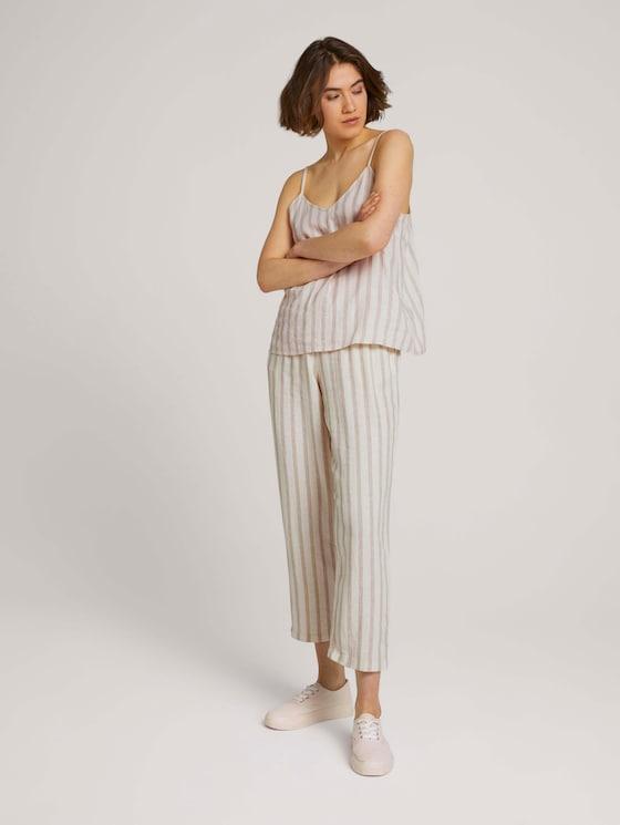 Tapered Leinen Stoffhose mit Gürtel - Frauen - brown beige stripe - 3 - TOM TAILOR Denim
