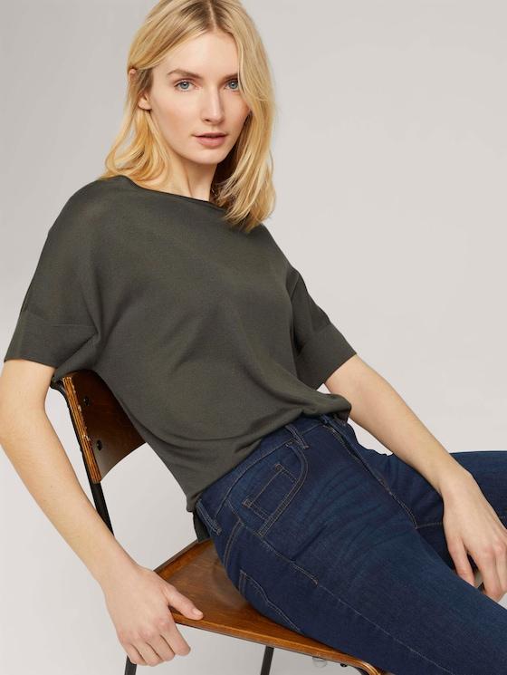Gestricktes T-Shirt mit kurzen Schlitzen - Frauen - Grape Leaf Green - 5 - TOM TAILOR