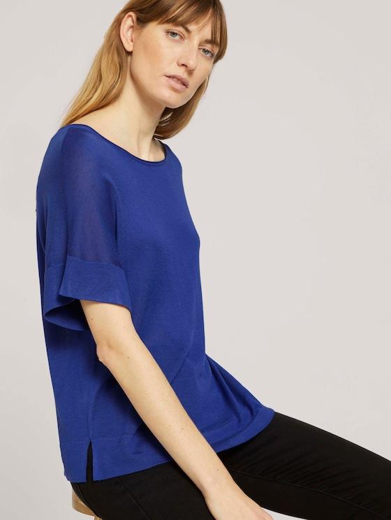 Gestricktes T-Shirt mit kurzen Schlitzen - Frauen - anemone blue - 5 - TOM TAILOR