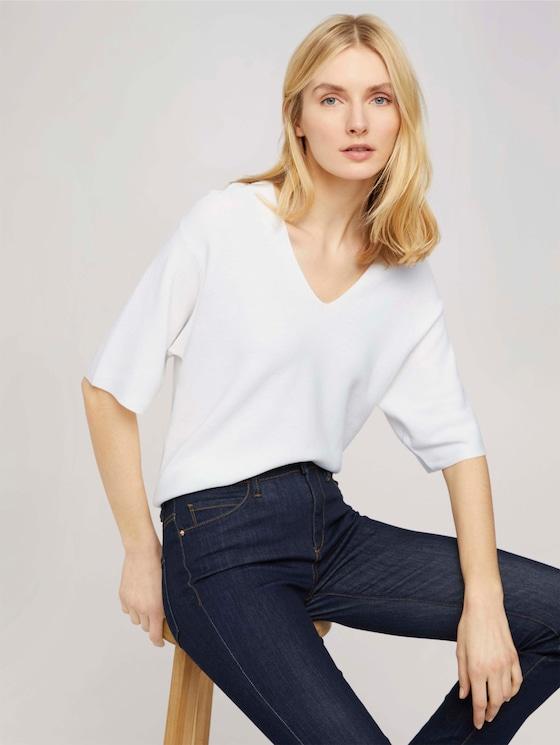 Kurzarm Pullover mit Bio-Baumwolle - Frauen - Whisper White - 5 - TOM TAILOR