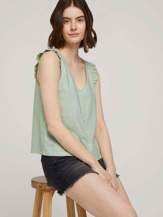 Ärmellose geknöpfte Bluse mit Leinen - Frauen - light dusty green - 5 - TOM TAILOR Denim