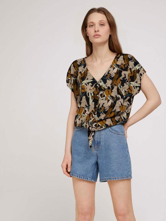 Bedrukte blouse met korte mouwen en knopen van Lenzing TM Ecopo TM - Vrouwen - abstract monkey print - 5 - TOM TAILOR Denim