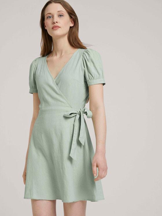 Mini Wickelkleid mit Leinen und Puffärmeln - Frauen - light dusty green - 5 - TOM TAILOR Denim