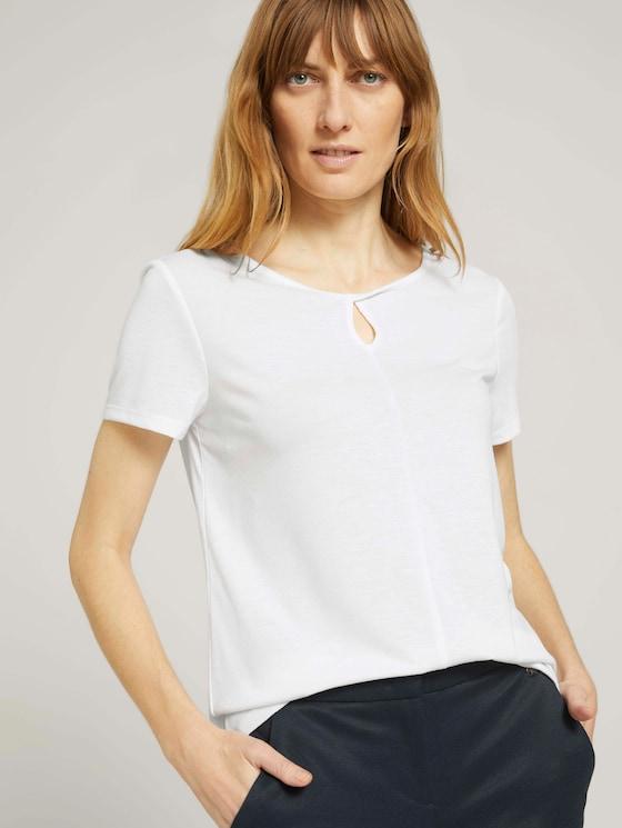 T-Shirt mit Knotendetail - Frauen - Whisper White - 5 - TOM TAILOR