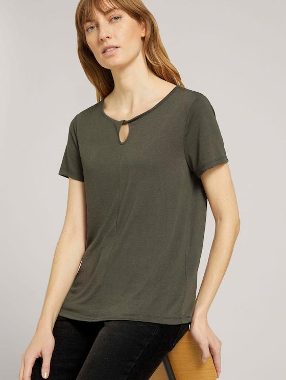 T-Shirt mit Knotendetail - Frauen - Grape Leaf Green - 5 - TOM TAILOR