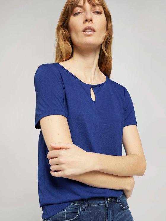 T-Shirt mit Knotendetail - Frauen - anemone blue - 5 - TOM TAILOR