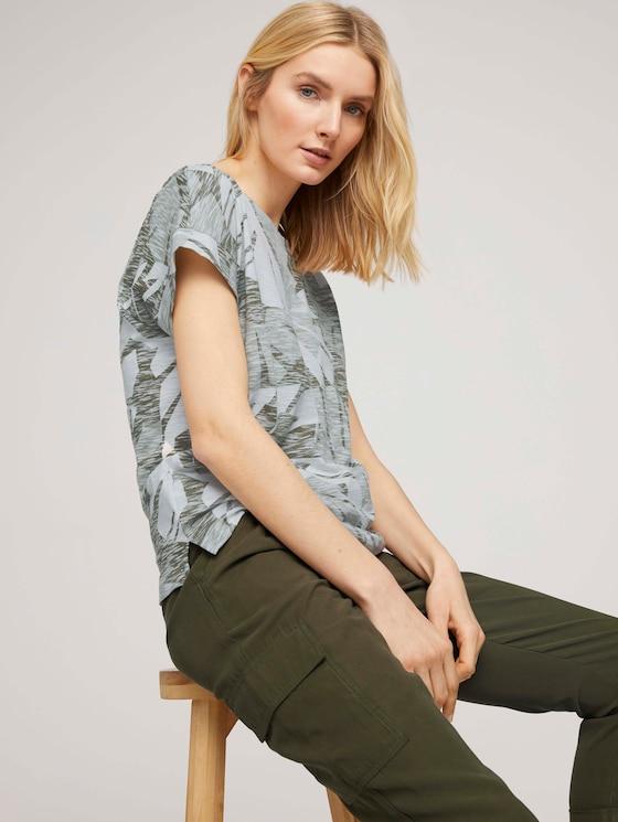 Lockeres T-Shirt mit Bio-Baumwolle - Frauen - green botanical design - 5 - TOM TAILOR