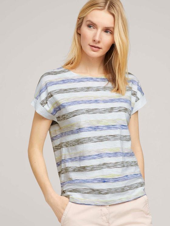 Lockeres T-Shirt mit Bio-Baumwolle - Frauen - blue stripe horizontal - 5 - TOM TAILOR