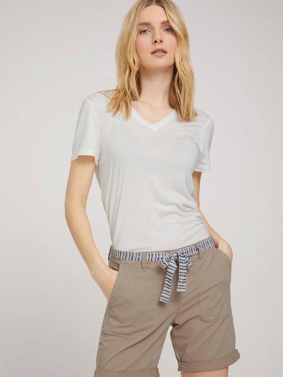 Basic T-Shirt mit Lyocell - Frauen - Whisper White - 5 - TOM TAILOR