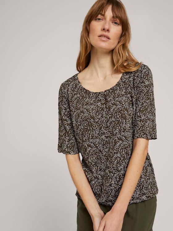 Geknöpftes T-Shirt in Knitteroptik - Frauen - khaki white outline leaves - 5 - TOM TAILOR