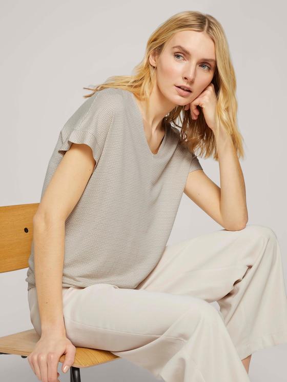 Strukturiertes T-Shirt mit elastischem Bund - Frauen - linen offwhite structure - 5 - TOM TAILOR
