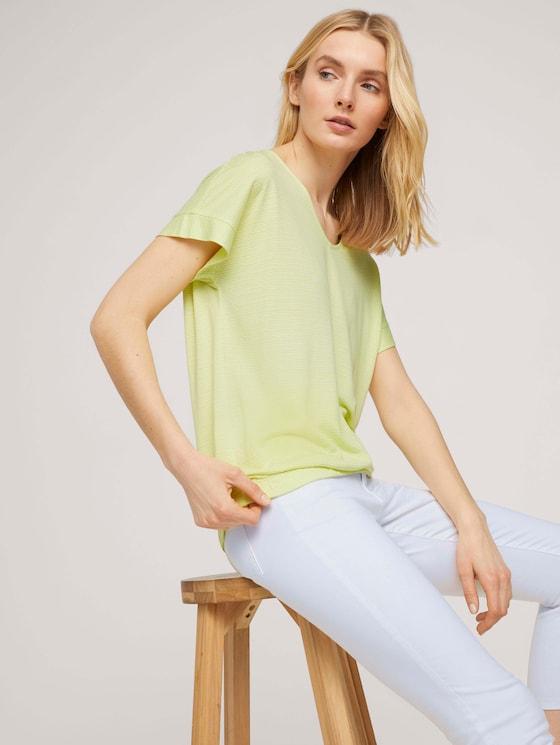 Strukturiertes T-Shirt mit elastischem Bund - Frauen - celery offwhite structure - 5 - TOM TAILOR