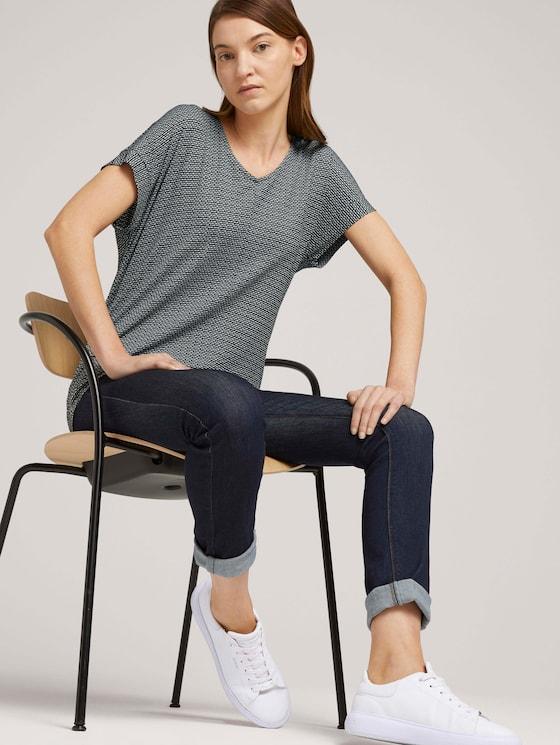 Strukturiertes T-Shirt mit elastischem Bund - Frauen - black white structure - 5 - TOM TAILOR