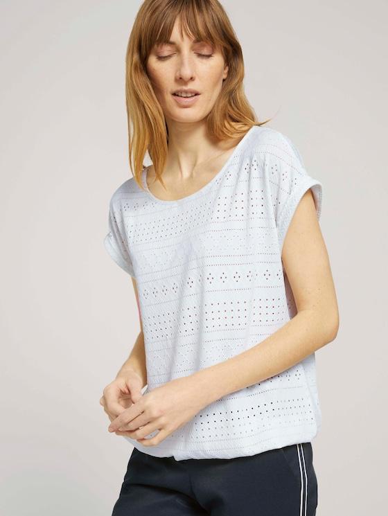 Elastisches T-Shirt mit Strukturmuster - Frauen - Whisper White - 5 - TOM TAILOR