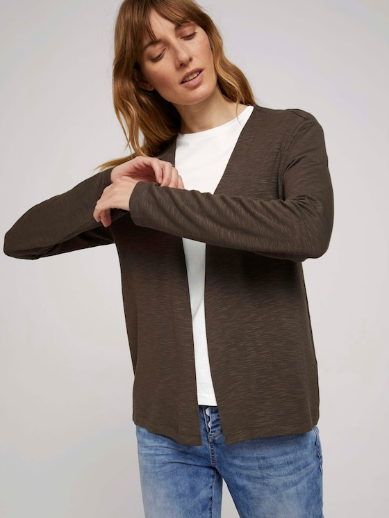 Basic Shirt Cardigan - Frauen - Grape Leaf Green - 5 - TOM TAILOR