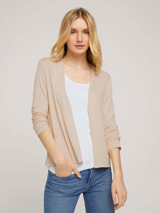Basic Shirt Cardigan - Frauen - Linen White - 5 - TOM TAILOR