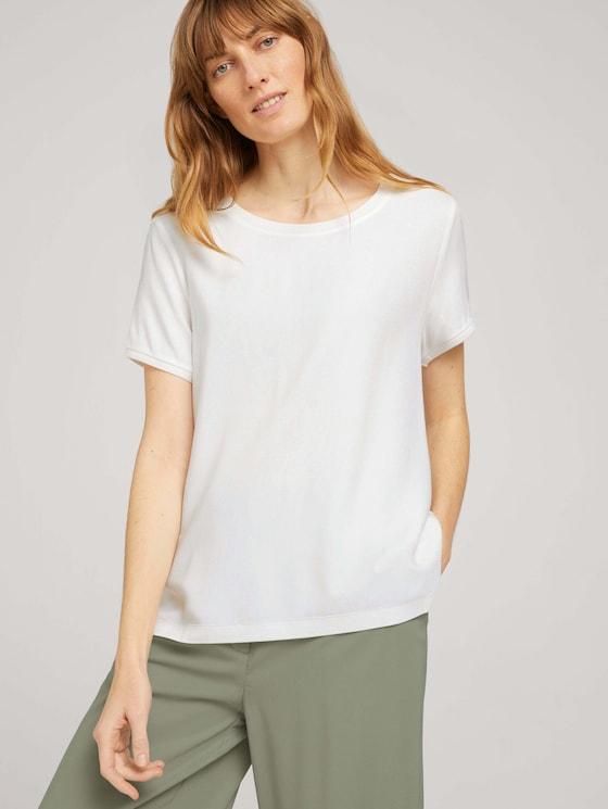 T-Shirt im Materialmix - Frauen - Whisper White - 5 - TOM TAILOR