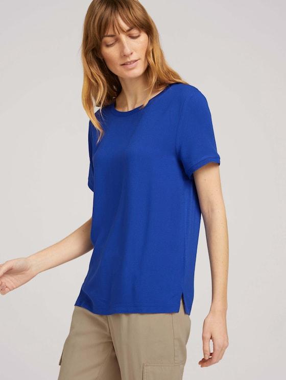 T-Shirt im Materialmix - Frauen - anemone blue - 5 - TOM TAILOR