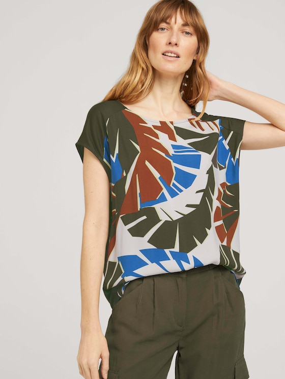Palmen T-Shirt mit Print - Frauen - Grape Leaf Green - 5 - TOM TAILOR