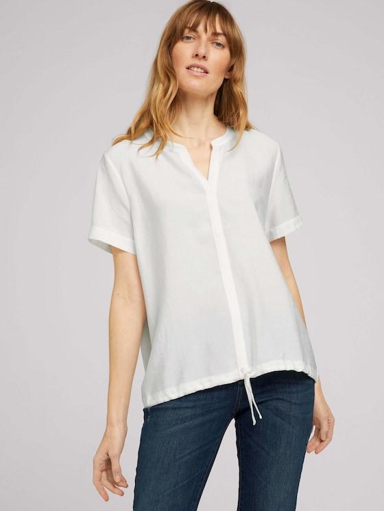 T-Shirt mit TENCEL™ und Tunnelzug - Frauen - Whisper White - 5 - TOM TAILOR