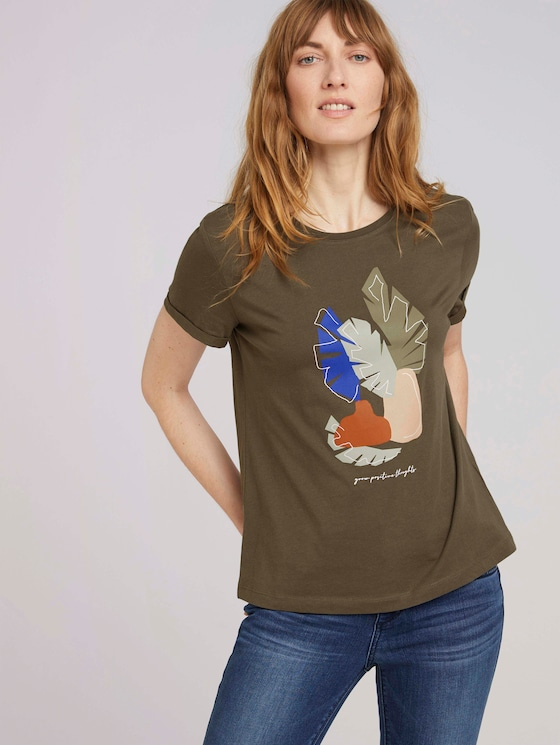 T-Shirt mit Bio-Baumwolle - Frauen - Grape Leaf Green - 5 - TOM TAILOR