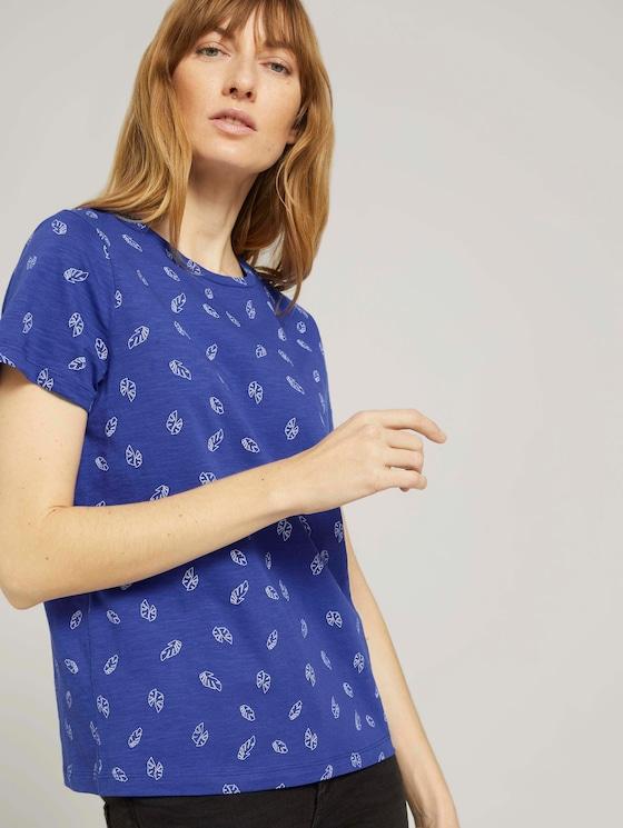 Gemustertes T-Shirt mit Bio-Baumwolle - Frauen - blue white leaves design - 5 - TOM TAILOR