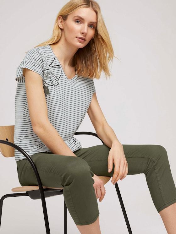 Gestreiftes T-Shirt mit Bio-Baumwolle - Frauen - offwhite khaki stripe - 5 - TOM TAILOR