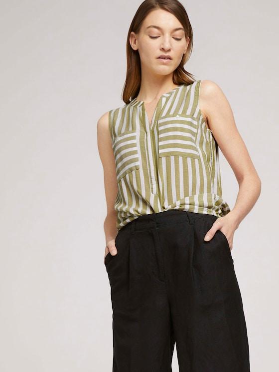 Ärmellose Bluse mit Streifen - Frauen - offwhite green stripe - 5 - TOM TAILOR