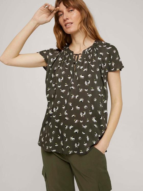 Kurzarm Bluse mit Raffungen - Frauen - khaki small floral design - 5 - TOM TAILOR