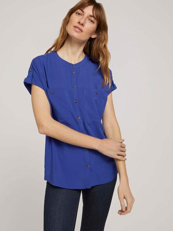 Kurzarm Hemdbluse mit Taschen - Frauen - anemone blue - 5 - TOM TAILOR