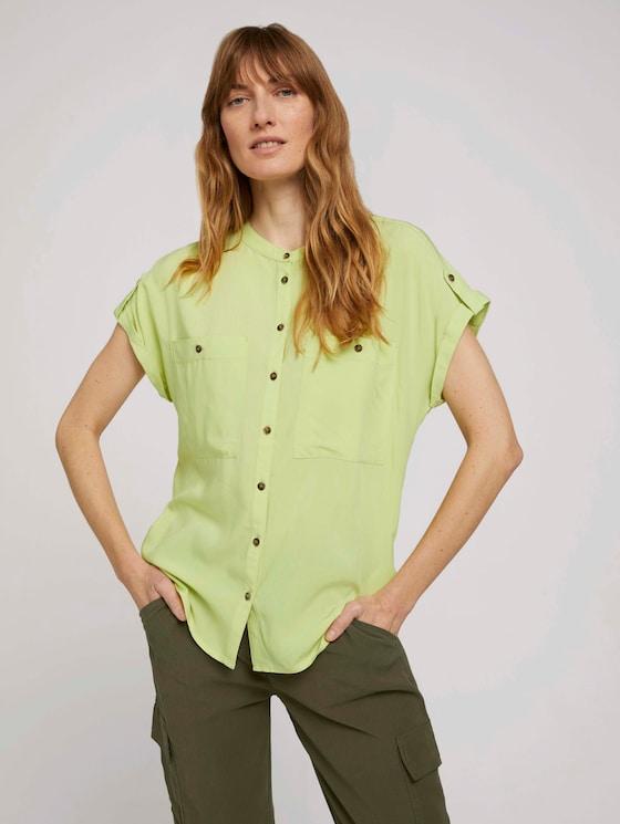 Kurzarm Hemdbluse mit Taschen - Frauen - celery ice - 5 - TOM TAILOR