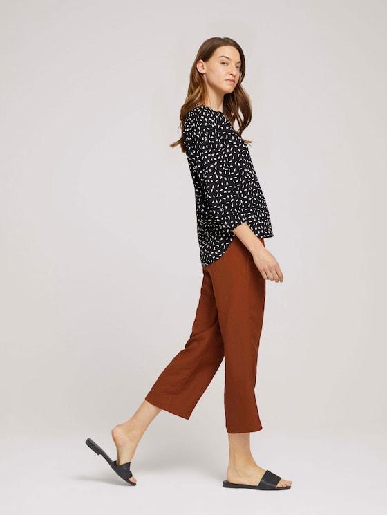 3/4 Arm Bluse mit TENCEL™ - Frauen - black geometrical design - 5 - TOM TAILOR