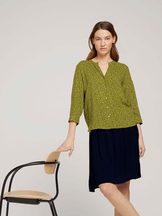 3/4 Arm Bluse mit TENCEL™ - Frauen - green geometrical design - 5 - TOM TAILOR