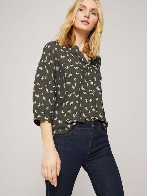 3/4 Arm Bluse mit TENCEL™ - Frauen - khaki small floral design - 5 - TOM TAILOR
