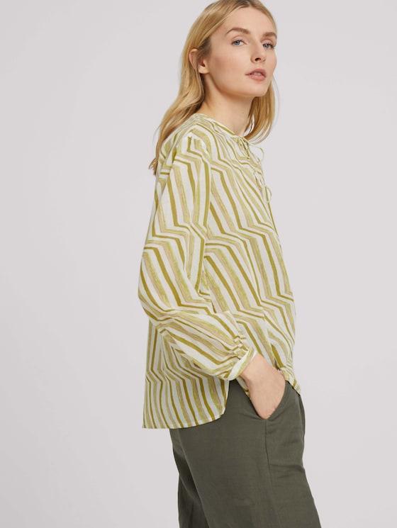 Gemusterte Bluse mit Bindedetail - Frauen - green small watercolor stripe - 5 - TOM TAILOR