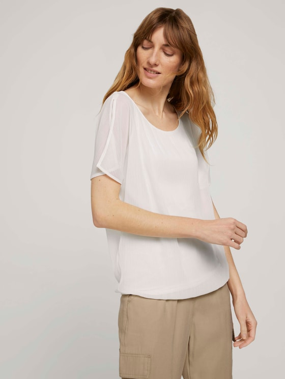 Fließende Bluse im Materialmix - Frauen - Whisper White - 5 - TOM TAILOR