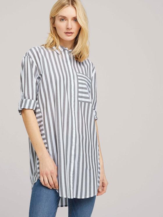 Lange Hemdbluse mit Streifen - Frauen - green vertical stripe - 5 - TOM TAILOR