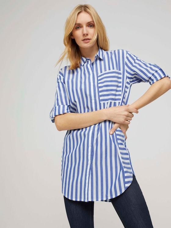 Lange Hemdbluse mit Streifen - Frauen - blue offwhite vertical stripe - 5 - TOM TAILOR