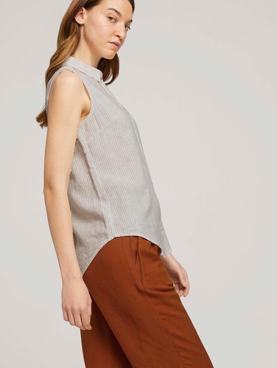 Mouwloos overhemd met linnen - Vrouwen - offwhite thin stripe woven - 5 - TOM TAILOR