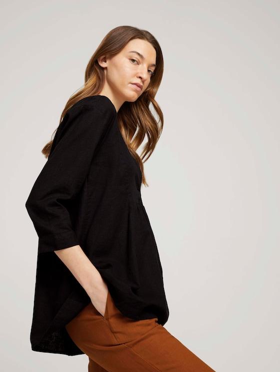 Tuniek blouse met linnen - Vrouwen - deep black - 5 - TOM TAILOR